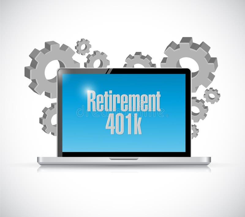 för datatekniktecken för avgång 401k begrepp stock illustrationer