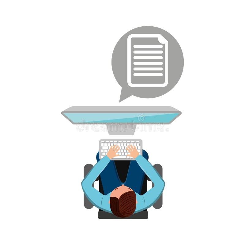 För datordokument för man funktionsduglig design för massmedia stock illustrationer