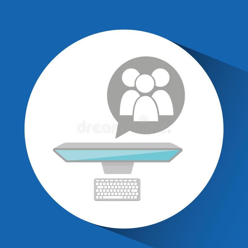 För datorgro för man funktionsduglig design för massmedia stock illustrationer