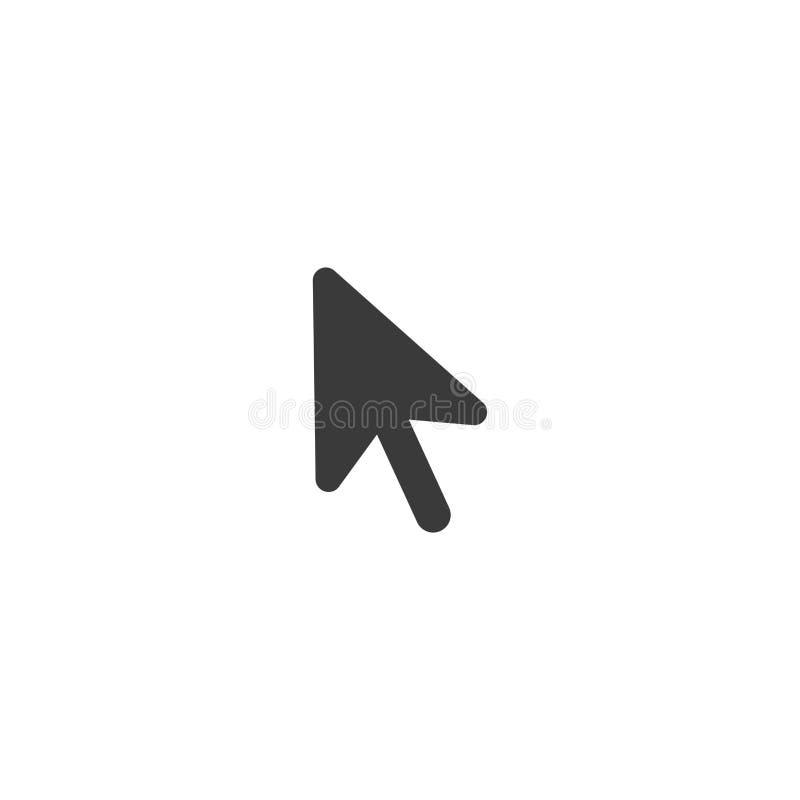 För datormus för vektor svart symbol för pil med plan designstil royaltyfri illustrationer
