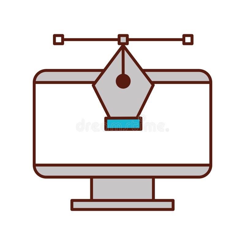 För datorreservoarpenna för grafisk design hjälpmedel royaltyfri illustrationer