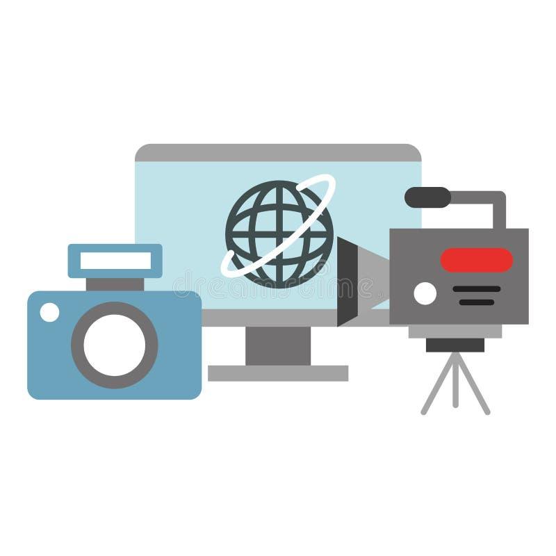 För datorvideo för fotografisk kamera breaking news för TV-sändning för registreringsapparat royaltyfri illustrationer