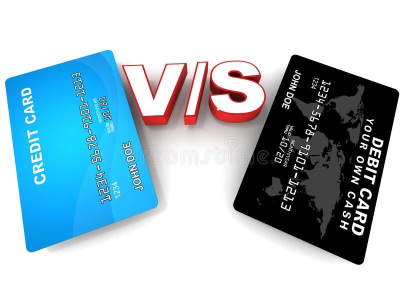 För debitering kreditkort kontra royaltyfri illustrationer