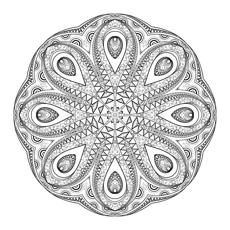 För Deco för vektor härlig Mandala monokrom kontur royaltyfri illustrationer