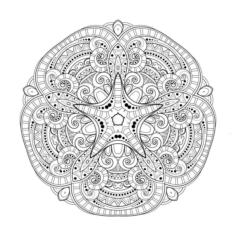 För Deco för vektor härlig stjärna monokrom kontur, mönstrad designbeståndsdel stock illustrationer