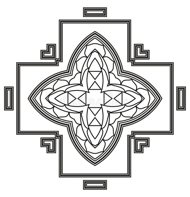 För Deco för vektor härlig Mandala svart royaltyfri illustrationer