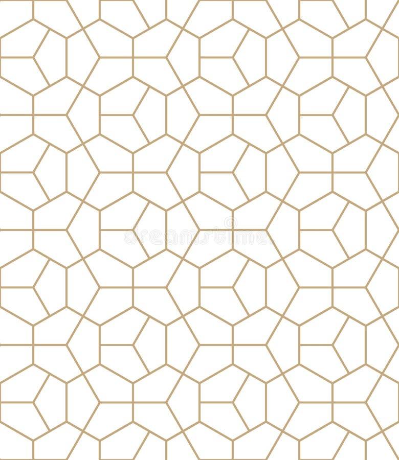 För decokonst för abstrakt geometri guld- modell för sexhörning stock illustrationer