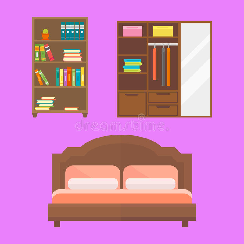 För dekorsymbol för möblemang kontur för toalett för hem- för uppsättning inomhus kabinett inre för rum för arkiv bokhylla för ko royaltyfri illustrationer