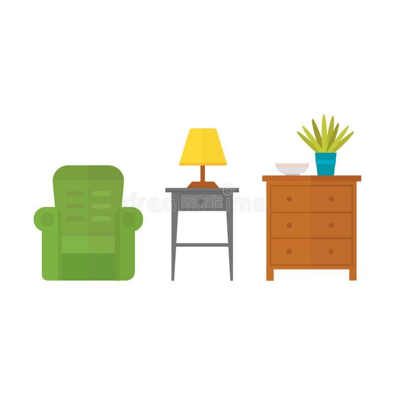 För dekorsymbol för möblemang kontur för toalett för hem- för uppsättning inomhus kabinett inre för rum för arkiv bokhylla för ko vektor illustrationer