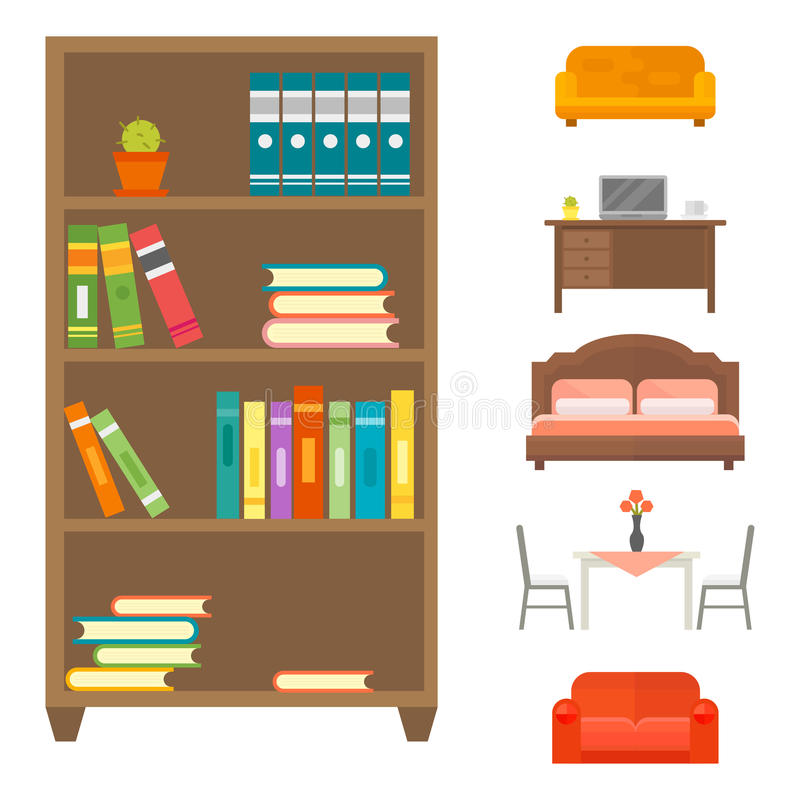 För dekorsymbol för möblemang kontur för toalett för hem- för uppsättning inomhus kabinett inre för rum för arkiv bokhylla för ko stock illustrationer