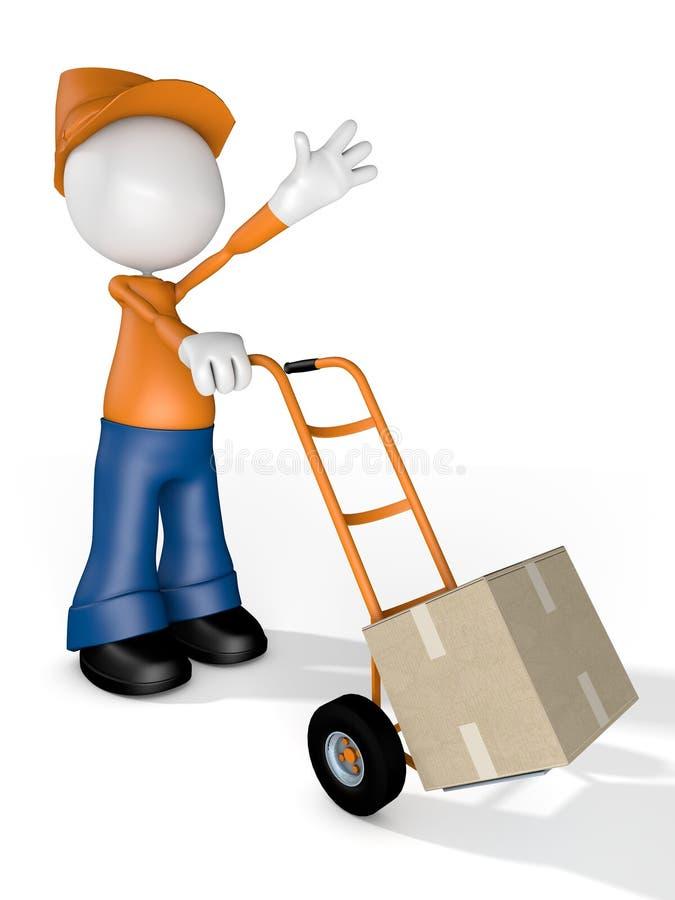 För Delivery för manteckenkurir ask transport royaltyfri illustrationer