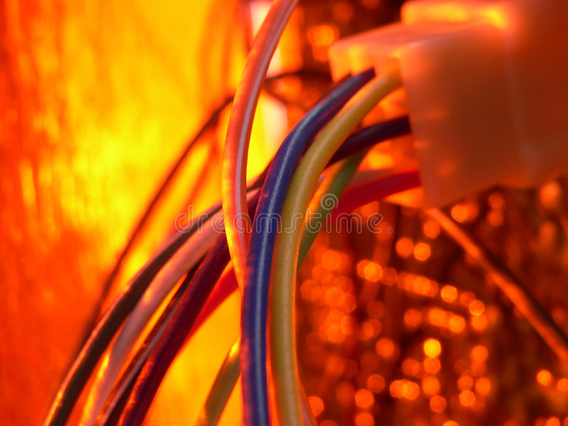 för deltagareteknologi för 5 orange tråd arkivfoto