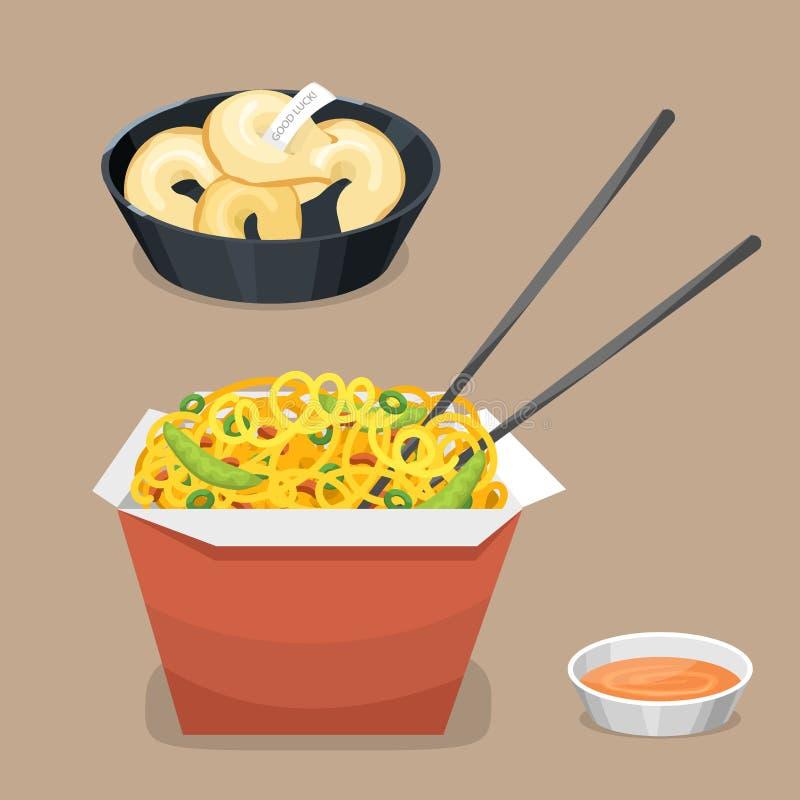För den asia för kokkonst för den kinesiska traditionsmatmaträtten lagade mat läcker lunch för porslinet för mål matställen vekto vektor illustrationer