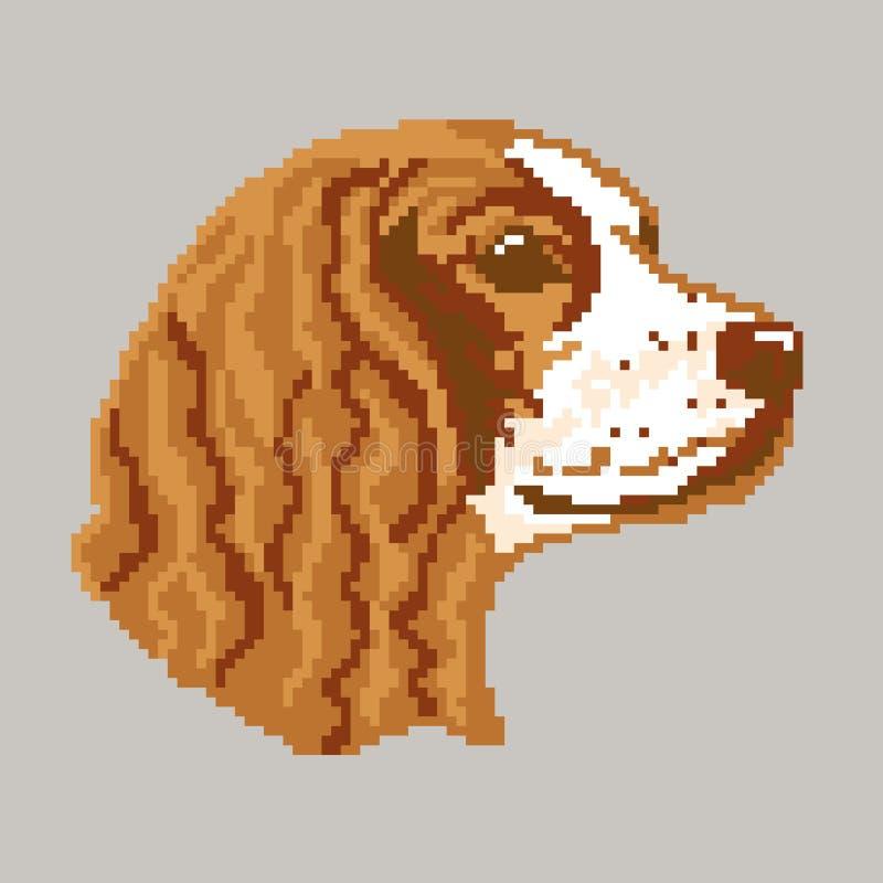 För den Cocker Spaniel för hundaveln tystar ned den engelska framsidan konturn, målat i fyrkanter, PIXEL Konturavel Cocker Spanie royaltyfri illustrationer
