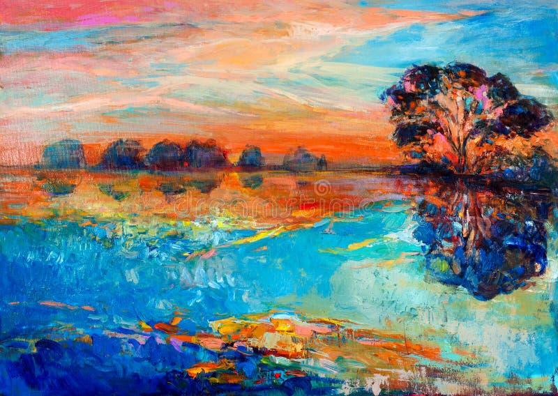 Lake och tree royaltyfri illustrationer