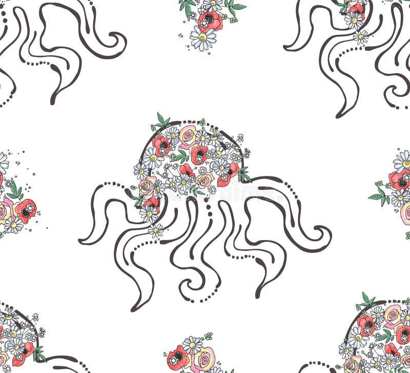 För den sömlösa skissar den utdragna grafiska illustrationen modellhanden för vektorn av havsdjuret, bläckfisk med blommor, sidor royaltyfri illustrationer