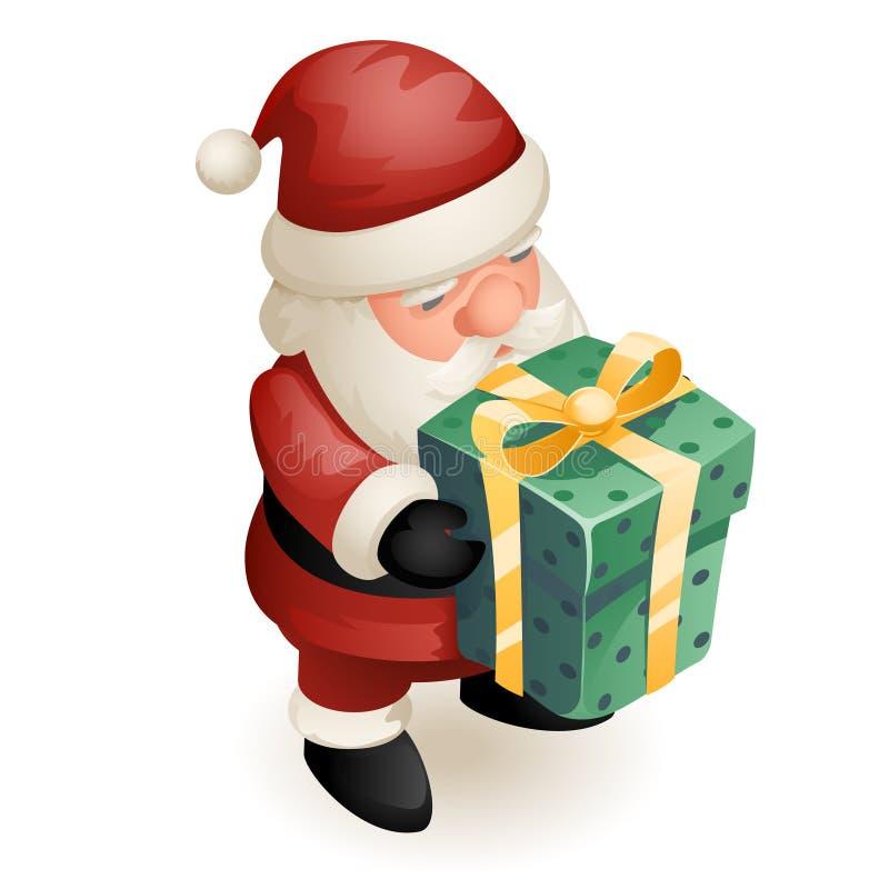 För den Santa Claus Grandfather Frost New Year för jul 3d för gåvaasken isolerade den gulliga isometriska designen tecknade filme stock illustrationer