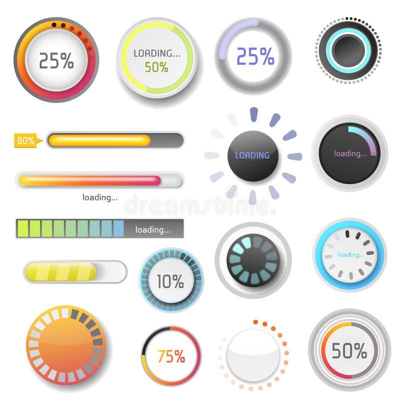 För denUX för framsteg för nedladdningen för indikatorer för framstegpäfyllningsstången mappen för manöverenheten för mallen för  royaltyfri illustrationer