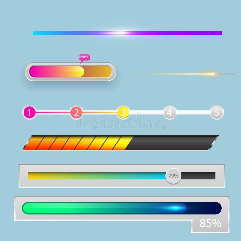 För denUX för framsteg för nedladdningen för indikatorer för framstegpäfyllningsstången mappen för mallen för designen för manöve stock illustrationer