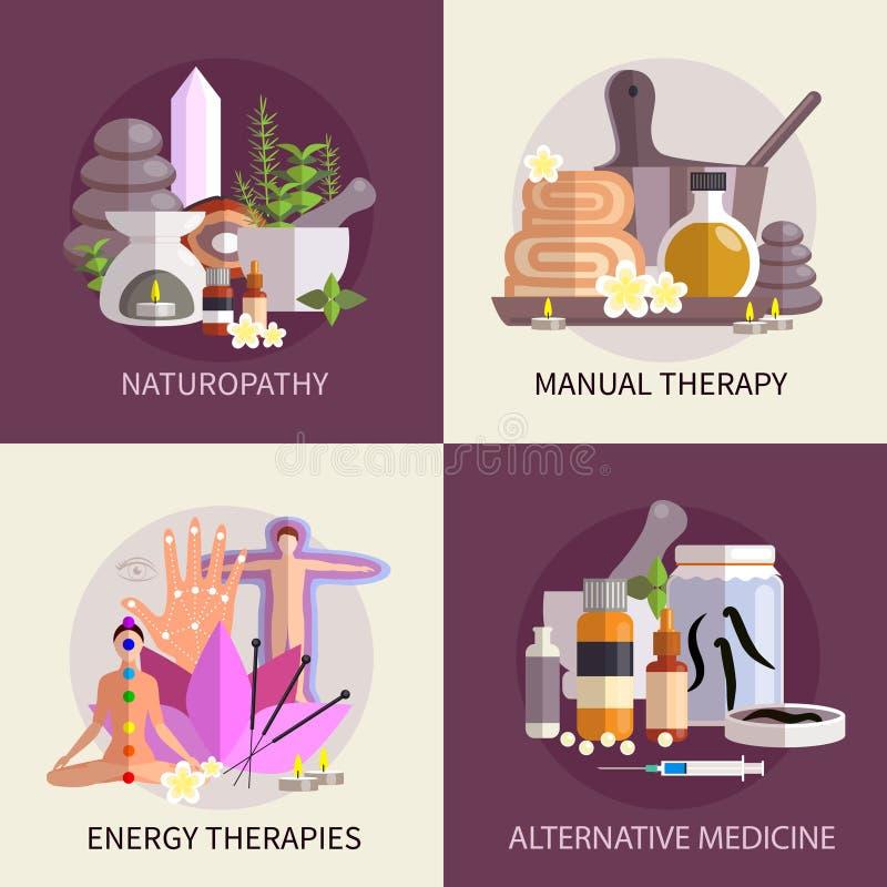 För designbegrepp för alternativ medicin uppsättning stock illustrationer