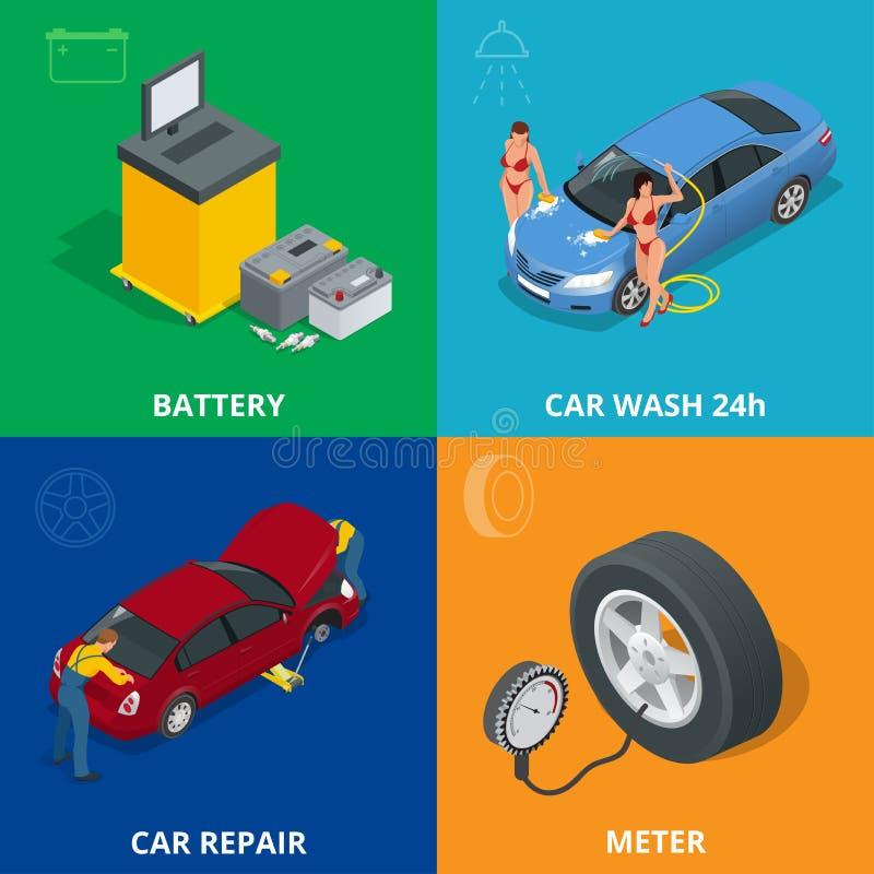 För designbegrepp för auto mekaniker uppsättning med bilreparationsservice, för datorbil för automatisk tjänste- diagnostik Plana stock illustrationer