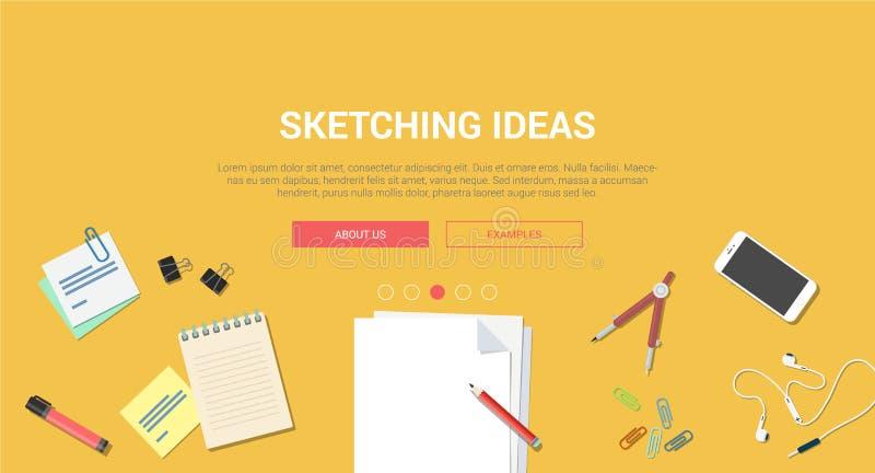 För designbegreppet för modellen skissar den moderna plana idérika idén process stock illustrationer