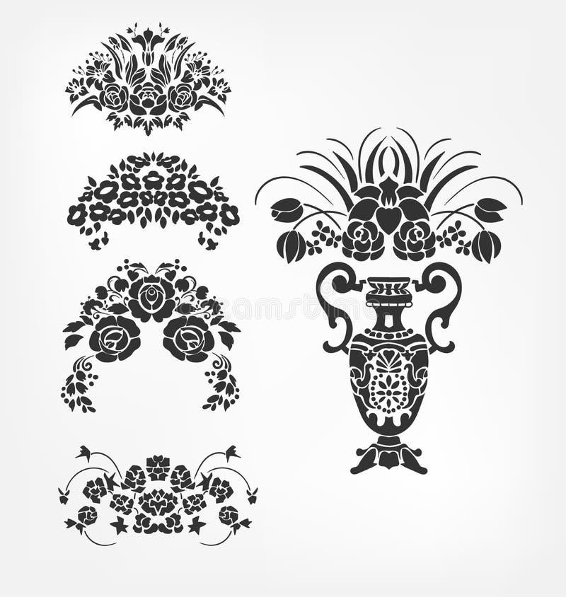För designbeståndsdelar för vektor victorian barock bukett för samling för vas för blomma vektor illustrationer