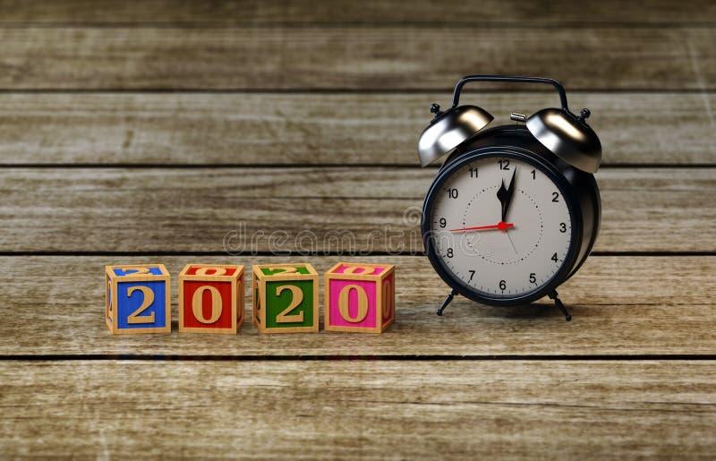 För designConceptNew för nytt år 2020 idérik begrepp för design år 2020 idérikt med klockan royaltyfria bilder