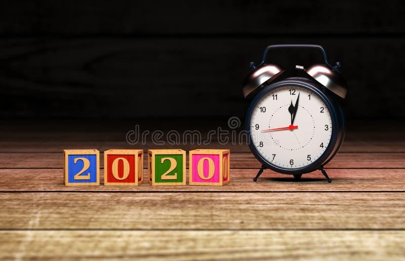 För designConceptNew för nytt år 2020 idérik begrepp för design år 2020 idérikt med klockan fotografering för bildbyråer