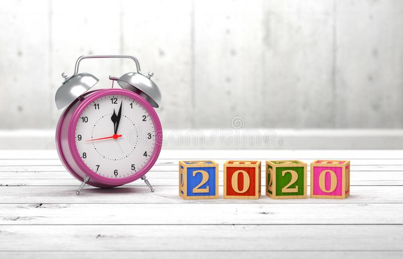 För designConceptNew för nytt år 2020 idérik begrepp för design år 2020 idérikt med klockan royaltyfri fotografi