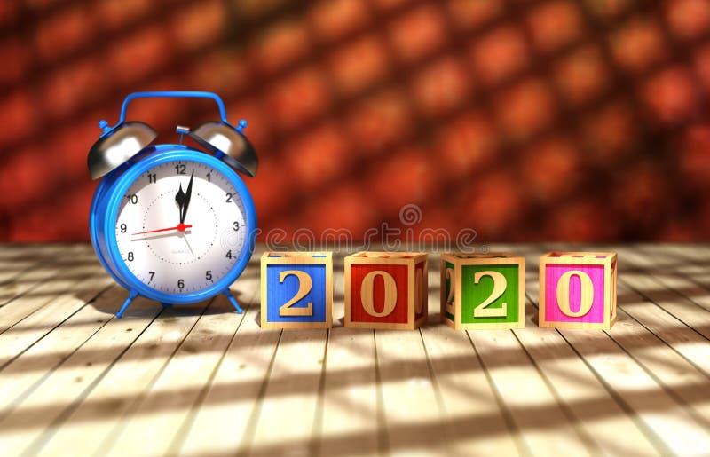 För designConceptNew för nytt år 2020 idérik begrepp för design år 2020 idérikt med klockan arkivfoto