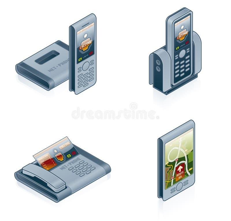 för designelement för dator 55f inställda symboler för maskinvara stock illustrationer