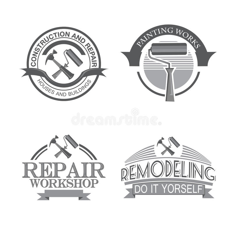 För designetiketter för den hem- reparationen bearbetar den flämtande tjänste- uppsättningen med svart den symboler isolerade vek stock illustrationer