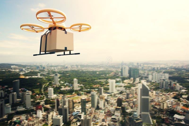 För designfjärrkontroll för foto ask för hantverk för gul generisk för luft för surr himmel för flyg tom under stads- yttersida m fotografering för bildbyråer