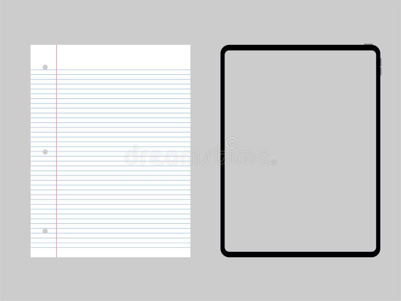 För designframflyttning för den nya kraftiga minnestavlan jämför pro-ny teknologi med normalt papper stock illustrationer