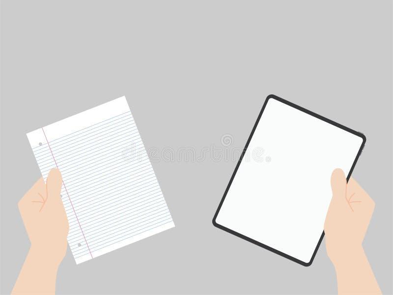 För designframflyttning för den nya kraftiga minnestavlan jämför pro-ny teknologi med normalt papper vektor illustrationer