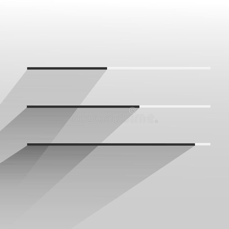 För designframsteg för vektor plan vit modern moderiktig stång stock illustrationer