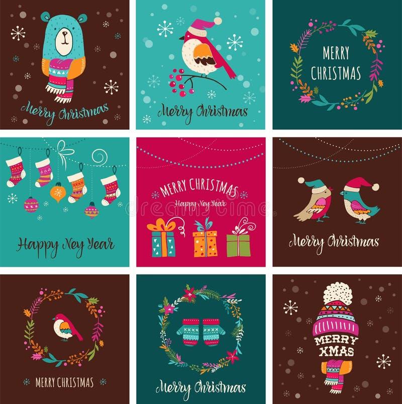 För designhälsningen för glad jul kort - klottra illustrationer royaltyfri illustrationer