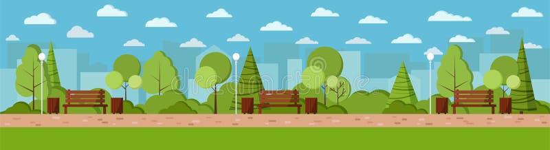 För designillustrationen för vektorn parkerar den plana staden för sommar dagbakgrund i tecknad filmstil stock illustrationer