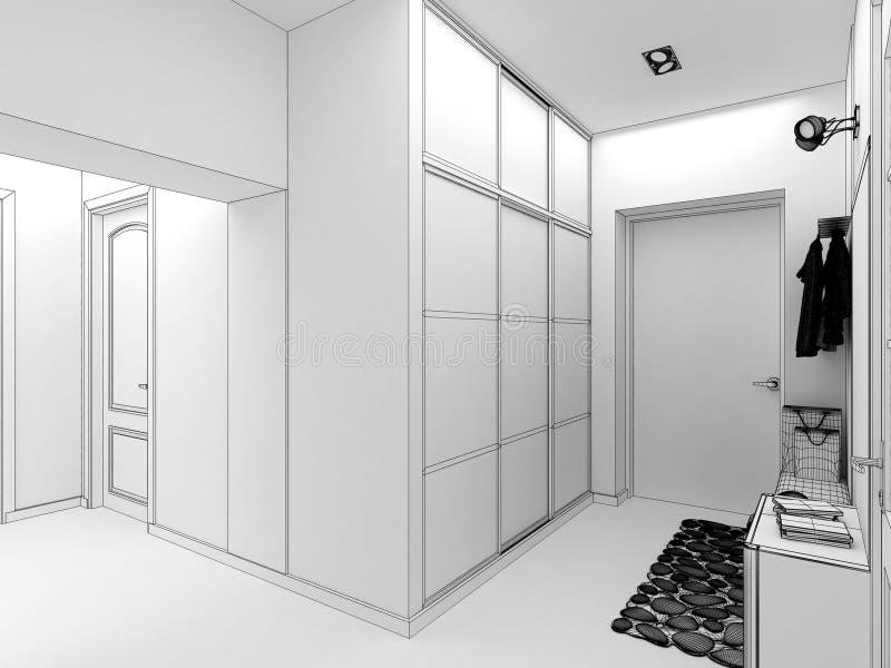 för designkorridor för korridor 3d framför inre moderna 3d framför royaltyfri illustrationer