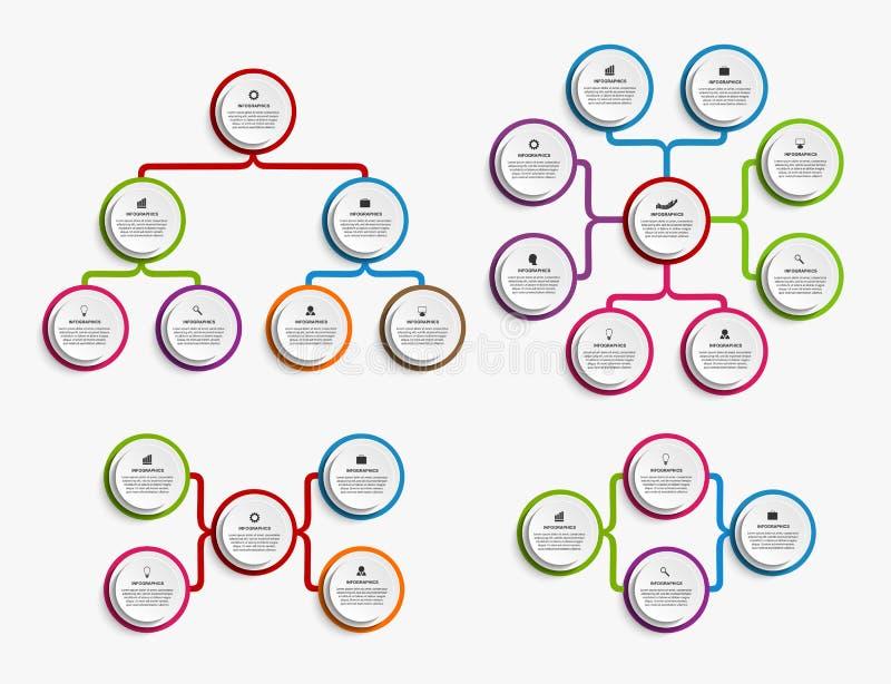 För designorganisation för samling infographic mall för diagram royaltyfri illustrationer