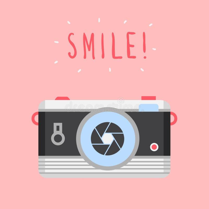 För designrengöringsduk för vektor modern plan symbol, kall retro kamera och leendetitel royaltyfri illustrationer