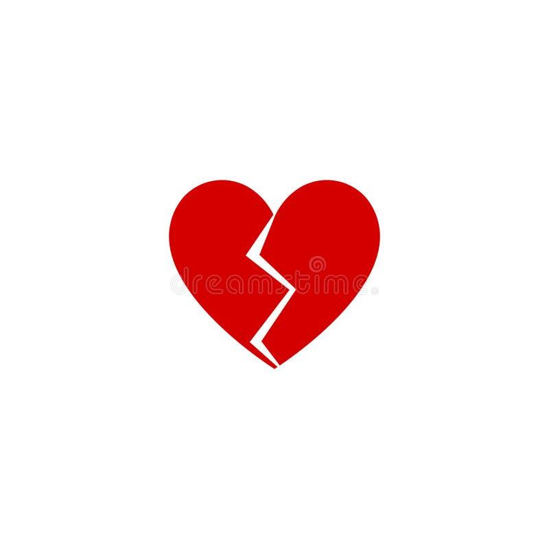 För designsymbol för hjärta bruten plan vektor royaltyfri illustrationer