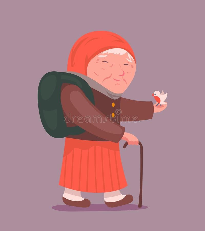 För designtecken för gammal dam Adult Traveler Cartoon symbol på stilfull bakgrundsvektorillustration royaltyfri illustrationer
