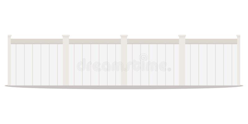 För designtecknad film för vektor plan illustration för stil av en lång rad av vita staket för trägatapostering royaltyfri illustrationer