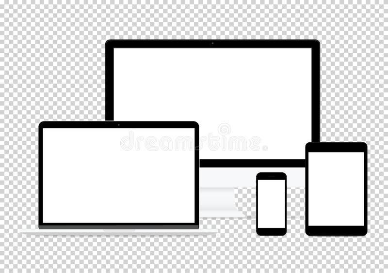 för designvektor för dator elektronisk plan uppsättning för teckning på genomskinlig bakgrund royaltyfri illustrationer