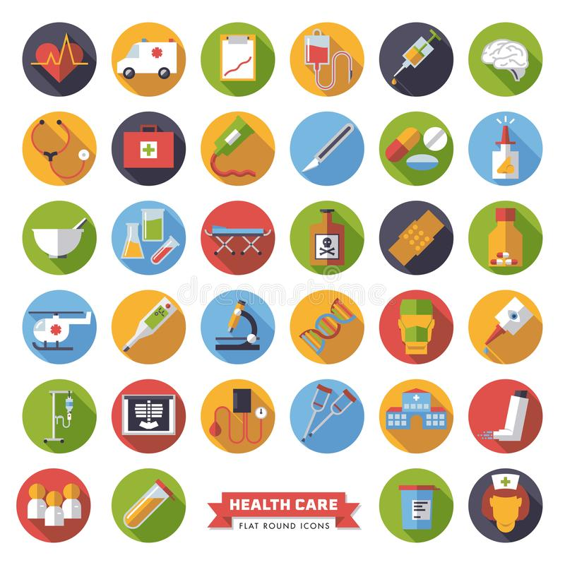För designvektor för läkarundersökning och för hälsovård plana symboler vektor illustrationer
