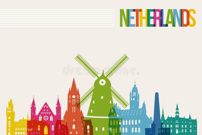 För destinationsgränsmärken för lopp nederländsk bakgrund för horisont royaltyfri illustrationer