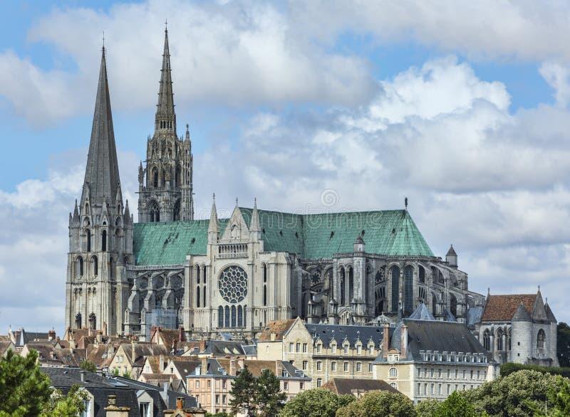 för det chartres för domkyrkan listade den katolska listan för landmarken för ladyen arvet gammalt vår unesco-värld arkivbilder