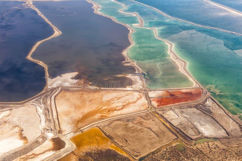 För det Israel för det döda havet naturen landskapet saltar extraktion från ovannämnd Jordanien för flyg- sikt royaltyfria bilder